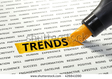 stock photo word trends highlighted with marker on paper of other related words business success concept 426841090